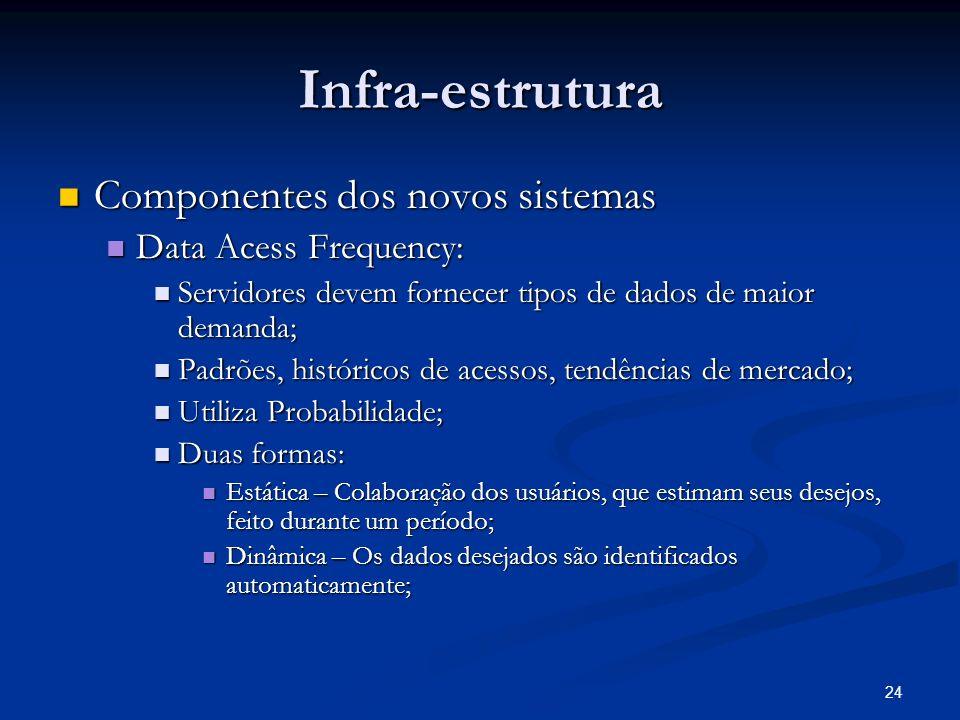 24 Infra-estrutura Componentes dos novos sistemas Componentes dos novos sistemas Data Acess Frequency: Data Acess Frequency: Servidores devem fornecer