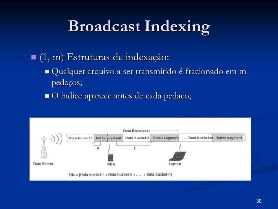 30 Broadcast Indexing (1, m) Estruturas de indexação: (1, m) Estruturas de indexação: Qualquer arquivo a ser transmitido é fracionado em m pedaços; Qu