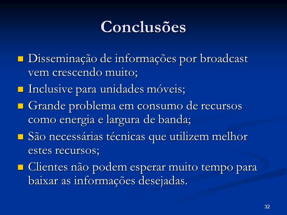 32 Conclusões Disseminação de informações por broadcast vem crescendo muito; Disseminação de informações por broadcast vem crescendo muito; Inclusive