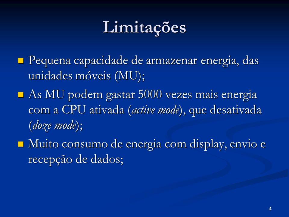 4 Limitações Pequena capacidade de armazenar energia, das unidades móveis (MU); Pequena capacidade de armazenar energia, das unidades móveis (MU); As