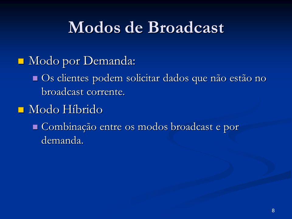 8 Modos de Broadcast Modo por Demanda: Modo por Demanda: Os clientes podem solicitar dados que não estão no broadcast corrente. Os clientes podem soli