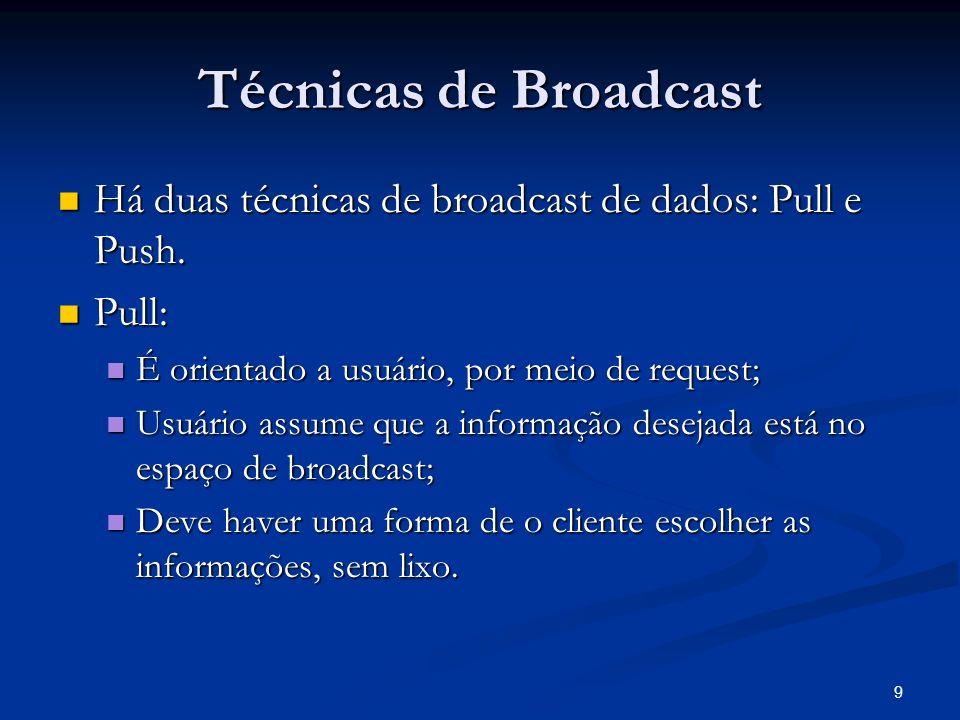 10 Técnicas de Broadcast - Pull Pull: Pull: Vantagens: Vantagens: fácil de usar; fácil de usar; iteração entre usuário e servidor por query; iteração entre usuário e servidor por query; Desvantagens: Desvantagens: Utiliza muitos recursos, cliente envia consulta por um canal, servidor responde por outro.