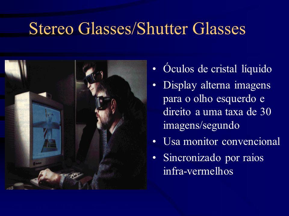 BOOMs Binocular Omni-Orientation Monitor Colocados em uma caixa, presa a um braço mecânico; Usam tubos de raios catôdicos; Alta resolução; Rápido; Tracker embutido; Confortável; Caros;