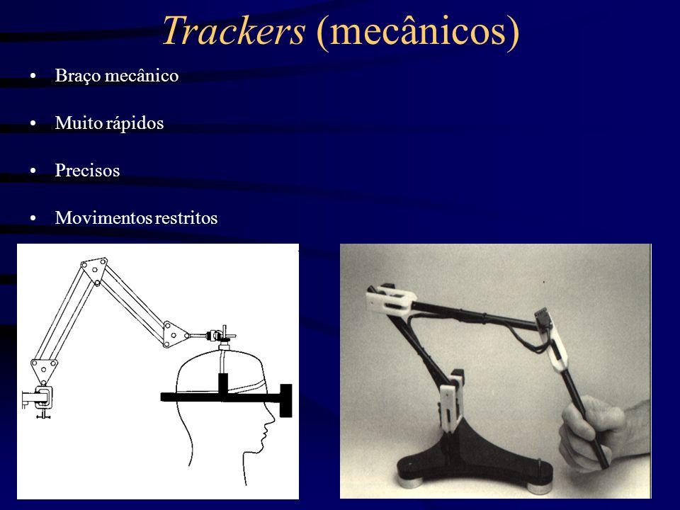 Trackers (eletromagnéticos) Cálculo da posição e/ou orientação por campo magnético Rápido Problemas de interferência Movimento limitado Caro