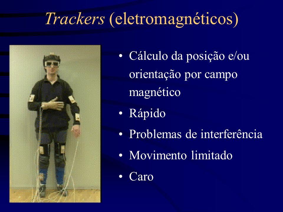 Trackers (óticos) Tipicamente leds piscando, monitorados por uma câmera em uma posição fixa Rápido Problemas de interferência pelas condições de luz ambientes