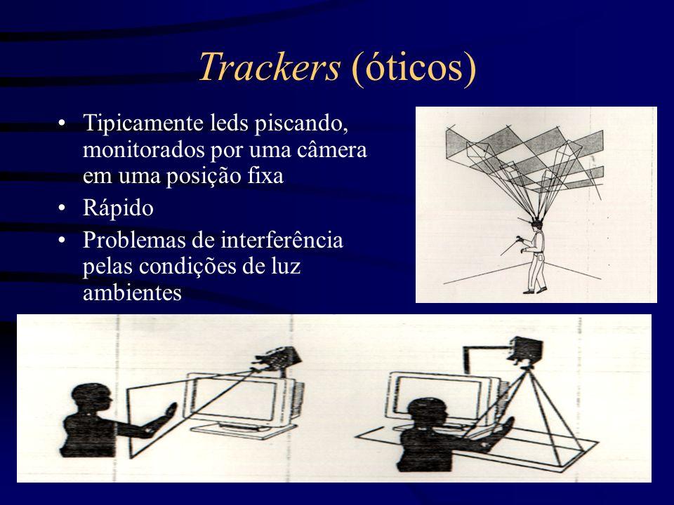Trackers (Acústicos) Usa ultrassom para medir posição e orientação Lentos Imprecisos Receptores posicionados em L