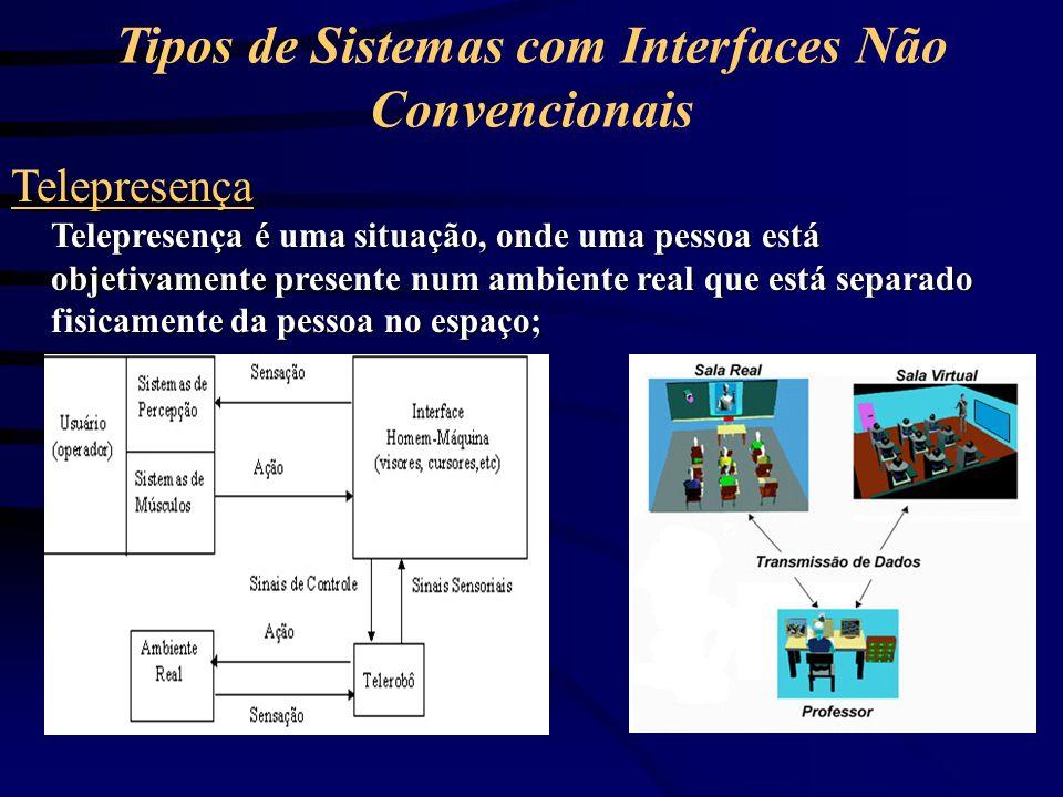 Realidade Virtual O usuário participa de um mundo virtual gerado no computador, usando dispositivos sensoriais de percepção e controle; Um ambiente virtual pode ser projetado para simular tanto um ambiente imaginário quanto um ambiente real;