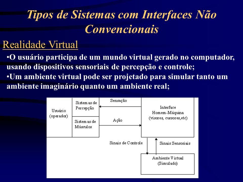 Tipos de Sistemas com Interfaces Não Convencionais Realidade Aumentada É a combinação da visão do ambiente real com o ambiente virtual; Esse tipo de sistema é obtido mesclando-se sistemas de telepresença e realidade virtual;