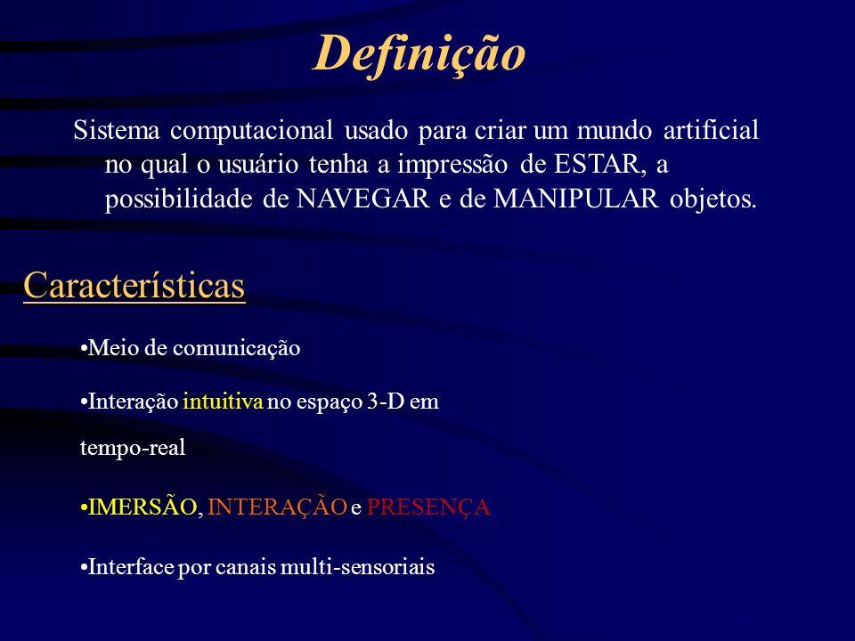 Exemplo Sala virtual com 3 bolas em movimento Interação com mouse ou teclado (Interação) Interação com data glove (VR) Dataglove com « vibrador » (Presença) Uso de óculos estéreo (Imersão) Visualização em tela grande