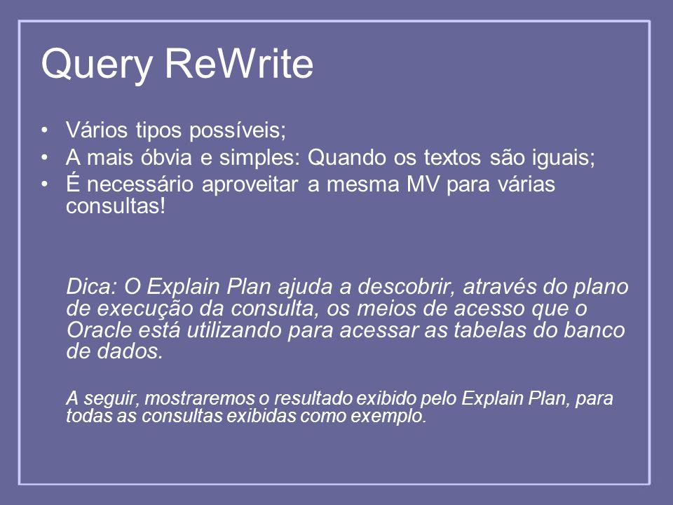 Query ReWrite Vários tipos possíveis; A mais óbvia e simples: Quando os textos são iguais; É necessário aproveitar a mesma MV para várias consultas! D