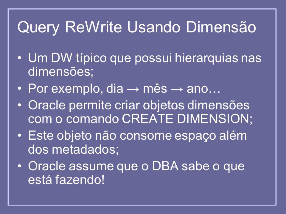 Query ReWrite Usando Dimensão Um DW típico que possui hierarquias nas dimensões; Por exemplo, dia mês ano… Oracle permite criar objetos dimensões com