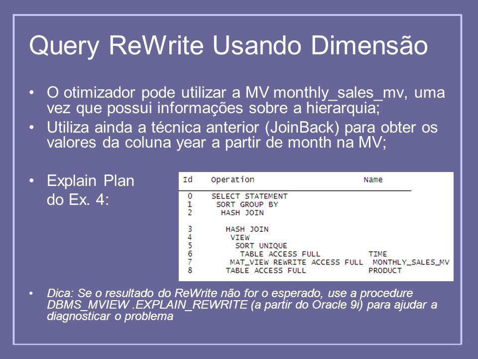 Query ReWrite Usando Dimensão O otimizador pode utilizar a MV monthly_sales_mv, uma vez que possui informações sobre a hierarquia; Utiliza ainda a téc