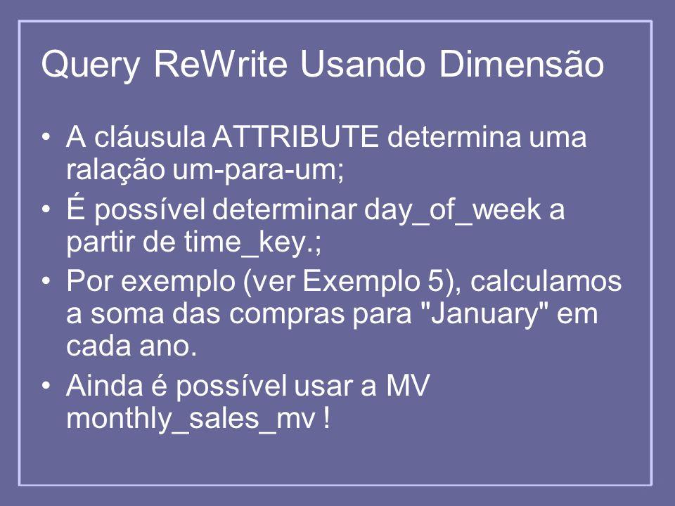 Query ReWrite Usando Dimensão A cláusula ATTRIBUTE determina uma ralação um-para-um; É possível determinar day_of_week a partir de time_key.; Por exem