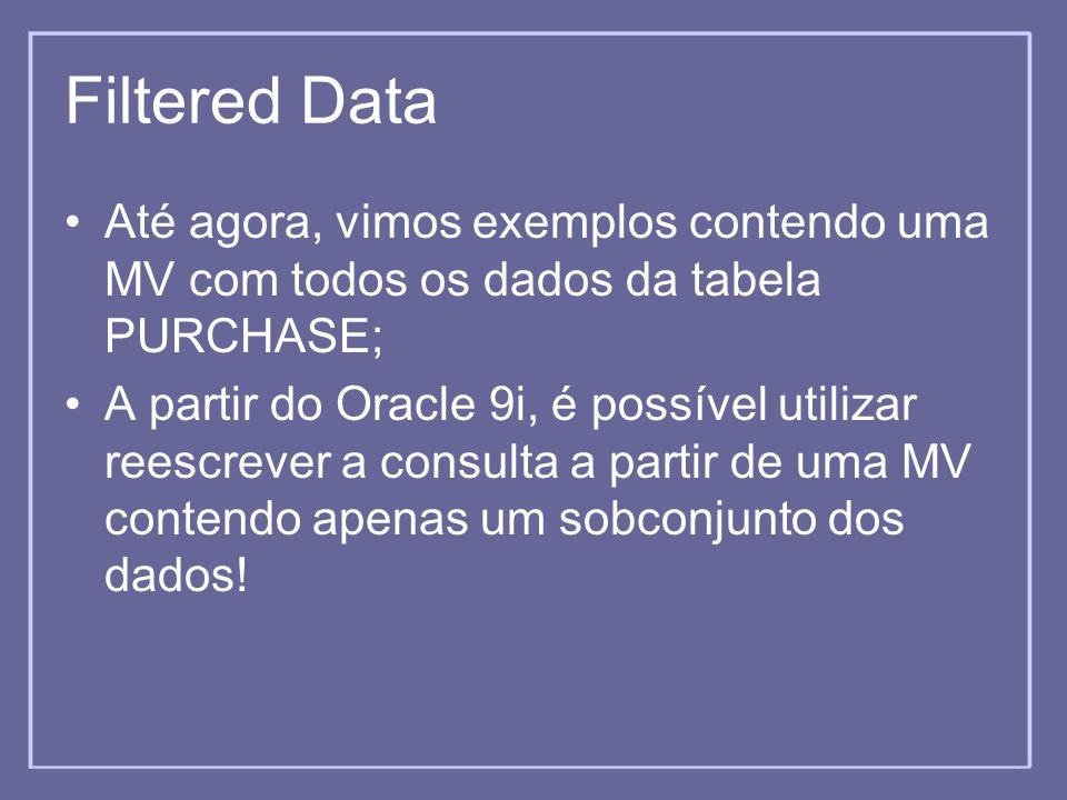 Filtered Data Até agora, vimos exemplos contendo uma MV com todos os dados da tabela PURCHASE; A partir do Oracle 9i, é possível utilizar reescrever a