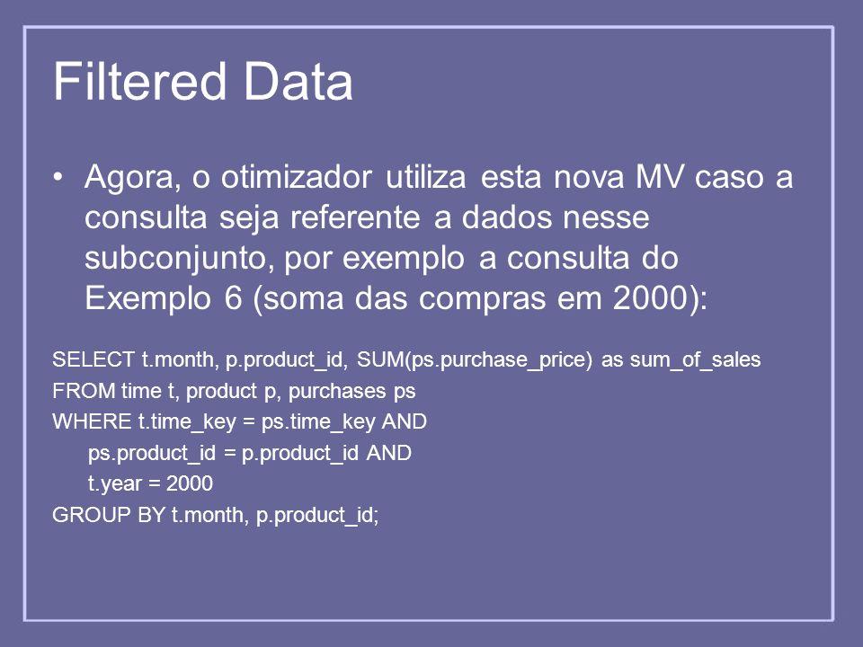 Filtered Data Agora, o otimizador utiliza esta nova MV caso a consulta seja referente a dados nesse subconjunto, por exemplo a consulta do Exemplo 6 (