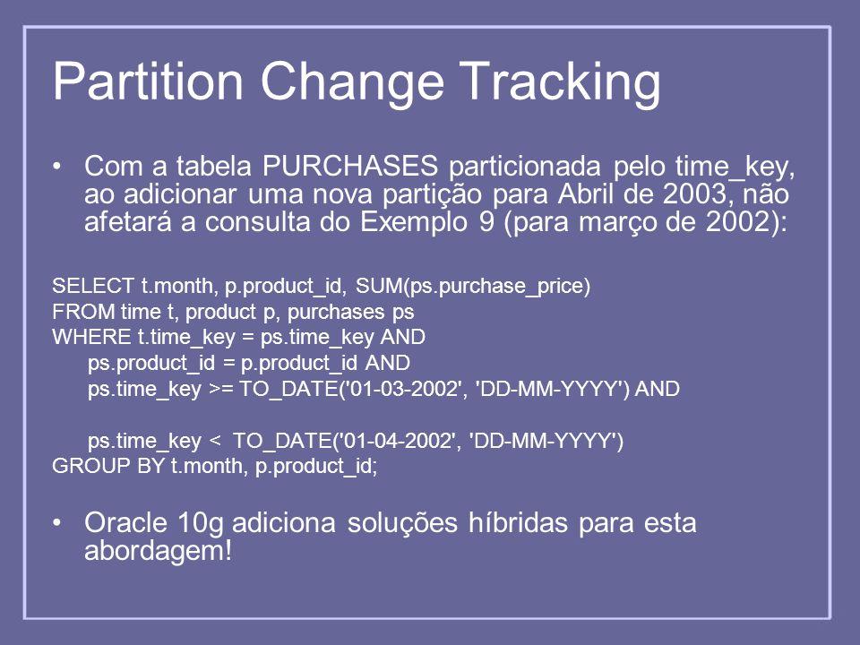 Partition Change Tracking Com a tabela PURCHASES particionada pelo time_key, ao adicionar uma nova partição para Abril de 2003, não afetará a consulta