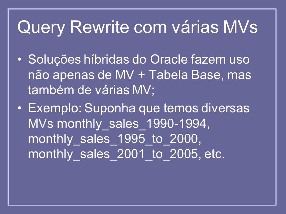 Query Rewrite com várias MVs Soluções híbridas do Oracle fazem uso não apenas de MV + Tabela Base, mas também de várias MV; Exemplo: Suponha que temos
