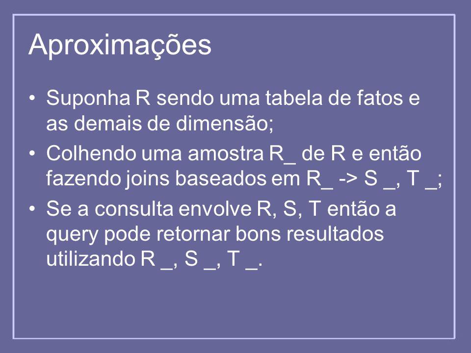 Aproximações Suponha R sendo uma tabela de fatos e as demais de dimensão; Colhendo uma amostra R_ de R e então fazendo joins baseados em R_ -> S _, T