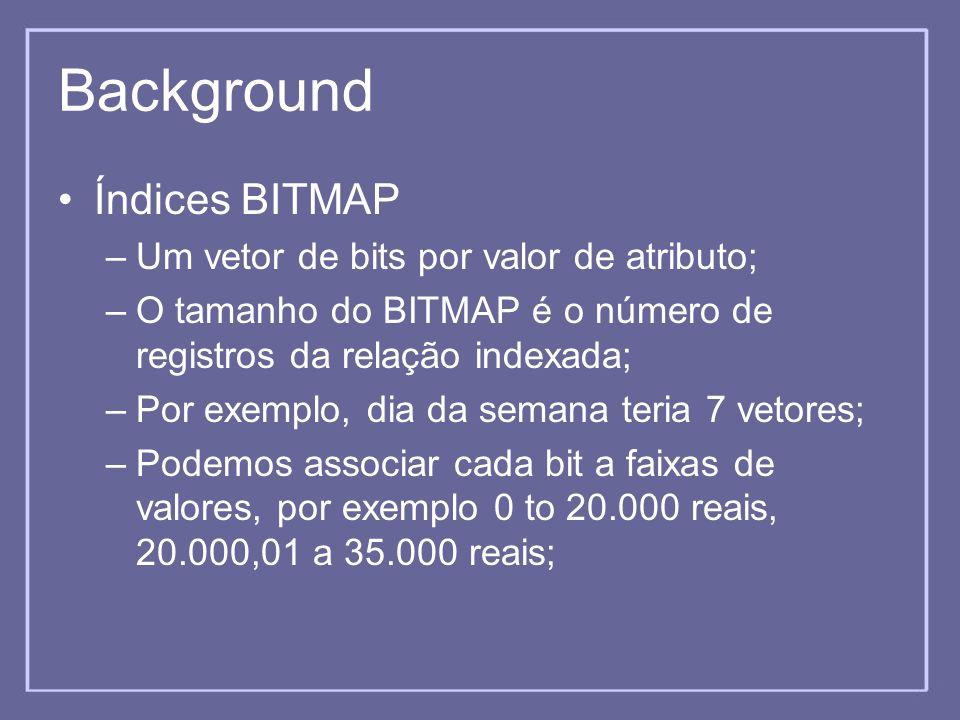 Background Índices BITMAP –Um vetor de bits por valor de atributo; –O tamanho do BITMAP é o número de registros da relação indexada; –Por exemplo, dia