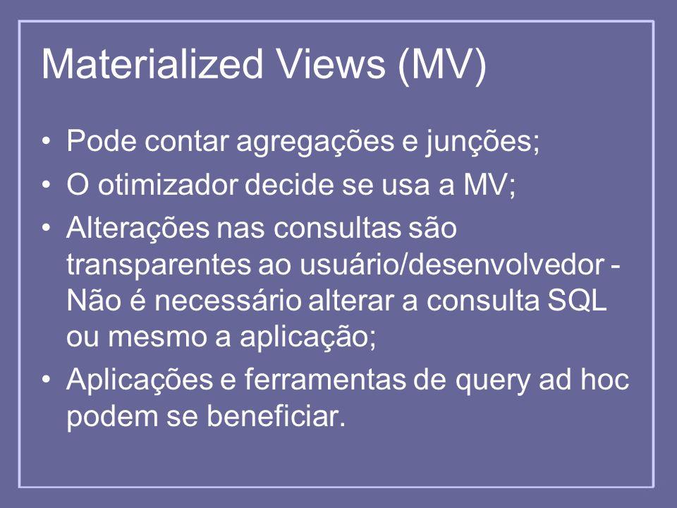 Materialized Views (MV) Pode contar agregações e junções; O otimizador decide se usa a MV; Alterações nas consultas são transparentes ao usuário/desen