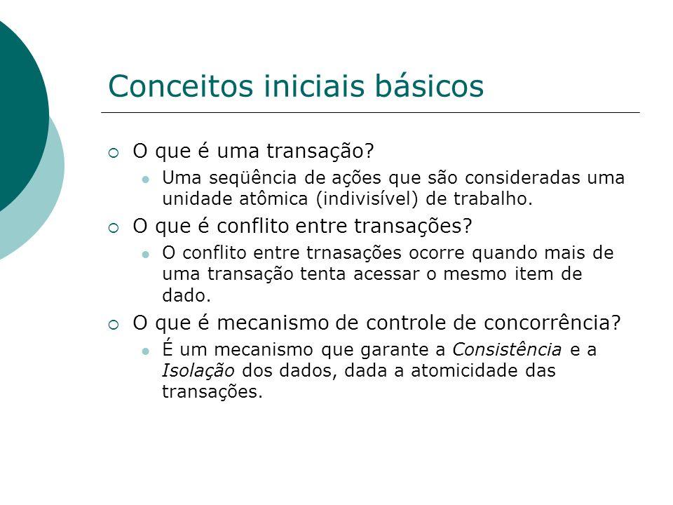 Metodologias Misturadas Mistura características do bloqueio em duas fases e do Timestamping.