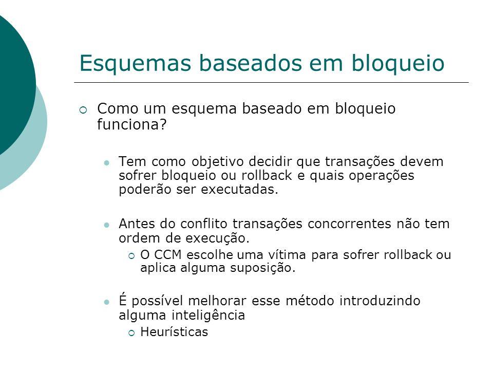 Bloqueio em duas fases para BDs Distribuídos Requer uma implementação diferente para o mecanismo de bloqueio em duas fases.