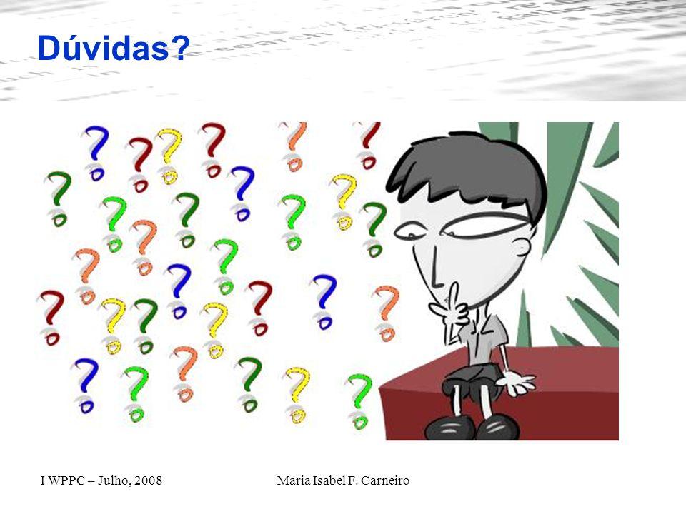 I WPPC – Julho, 2008Maria Isabel F. Carneiro Dúvidas?