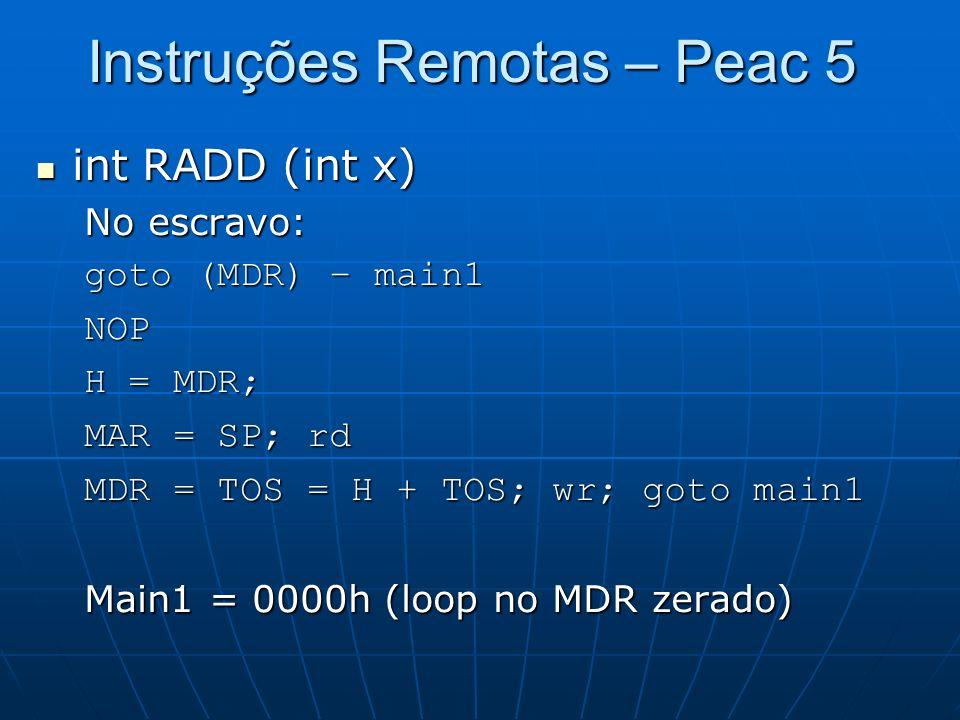 Instruções Remotas – Peac 5 int RADD (int x) int RADD (int x) No escravo: goto (MDR) – main1 NOP H = MDR; MAR = SP; rd MDR = TOS = H + TOS; wr; goto m