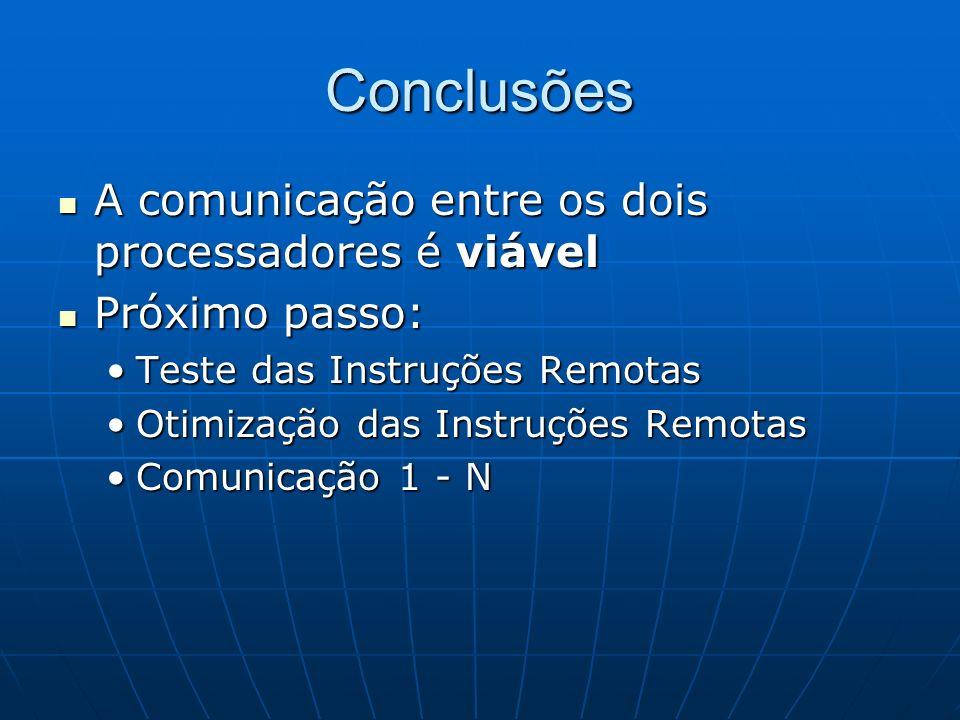 Conclusões A comunicação entre os dois processadores é viável A comunicação entre os dois processadores é viável Próximo passo: Próximo passo: Teste d