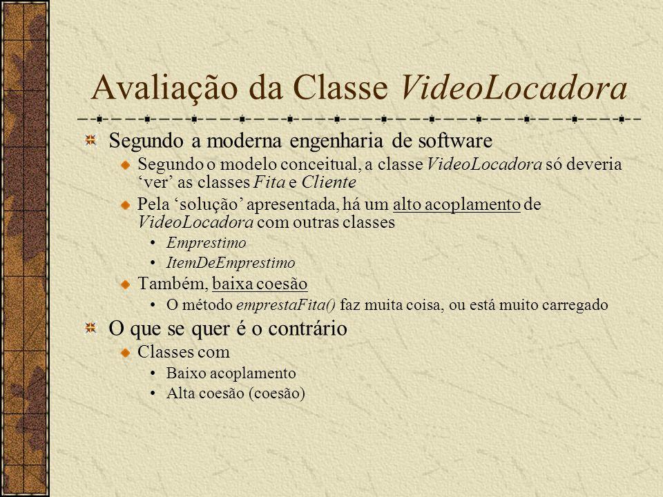 Avaliação da Classe VideoLocadora Segundo a moderna engenharia de software Segundo o modelo conceitual, a classe VideoLocadora só deveria ver as class
