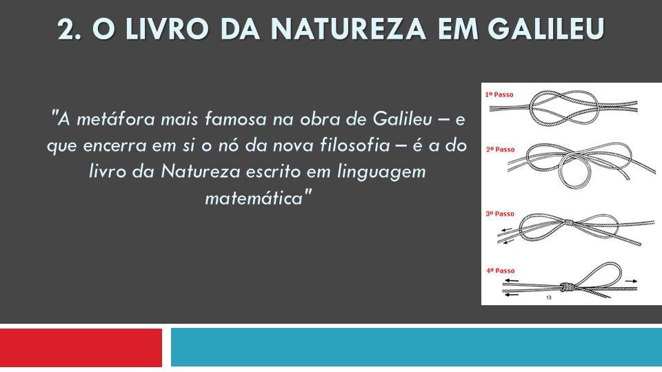 A metáfora mais famosa na obra de Galileu – e que encerra em si o nó da nova filosofia – é a do livro da Natureza escrito em linguagem matemática 2.