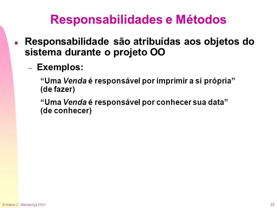 © Nabor C. Mendonça 2001 25 Responsabilidades e Métodos n Responsabilidade são atribuídas aos objetos do sistema durante o projeto OO – Exemplos: Uma