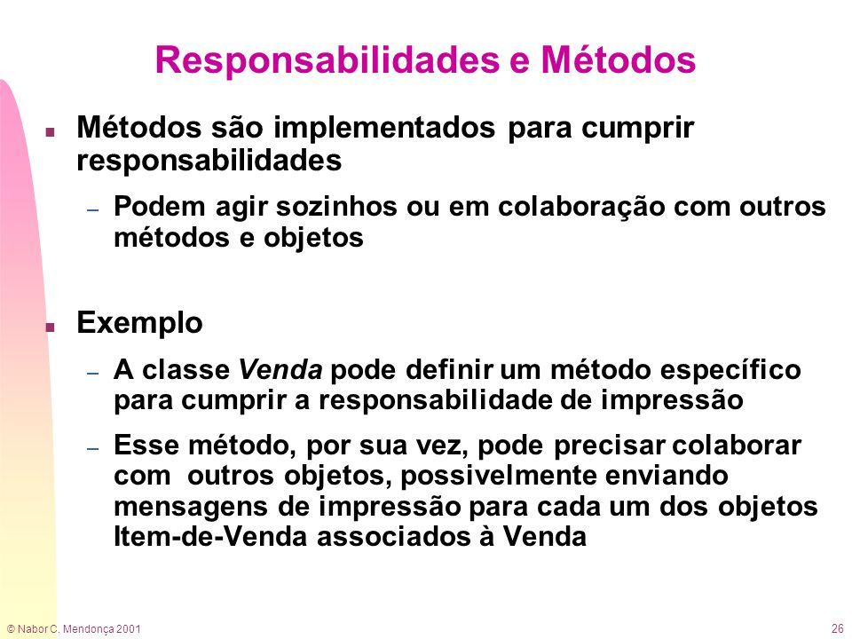 © Nabor C. Mendonça 2001 26 Responsabilidades e Métodos n Métodos são implementados para cumprir responsabilidades – Podem agir sozinhos ou em colabor