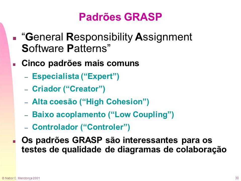 © Nabor C. Mendonça 2001 30 Padrões GRASP nGeneral Responsibility Assignment Software Patterns n Cinco padrões mais comuns – Especialista (Expert) – C