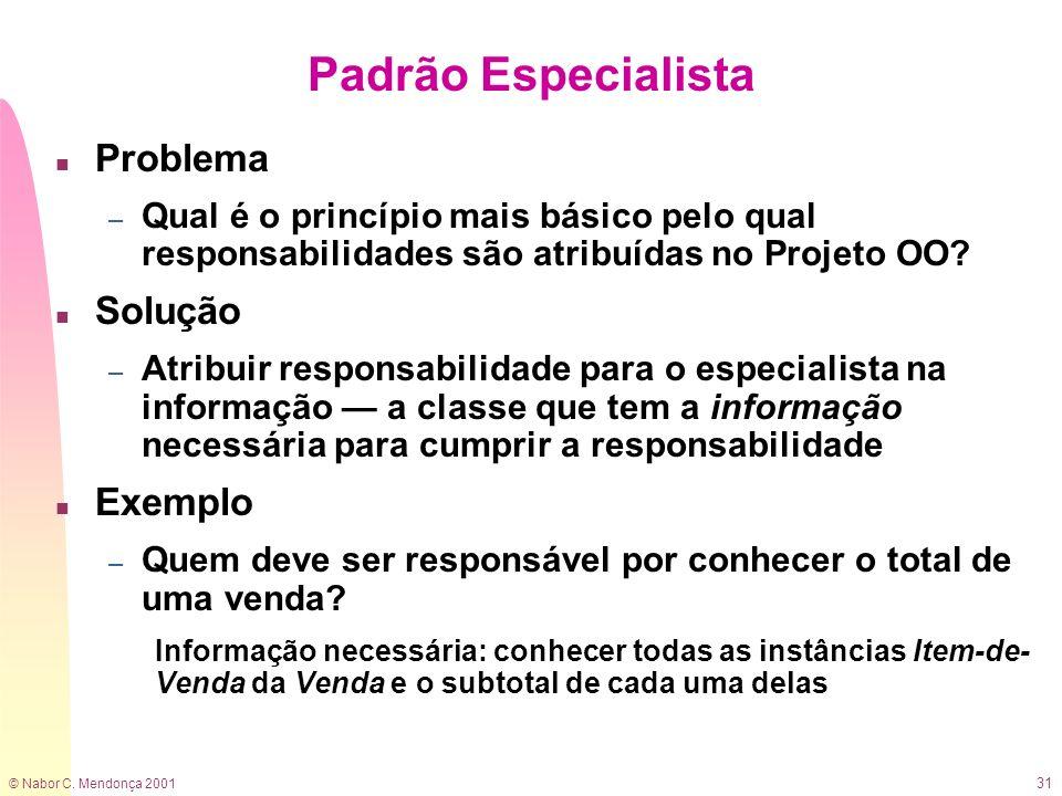 © Nabor C. Mendonça 2001 31 Padrão Especialista n Problema – Qual é o princípio mais básico pelo qual responsabilidades são atribuídas no Projeto OO?