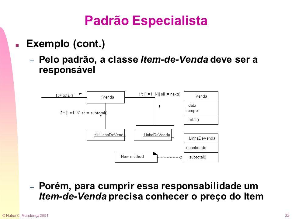 © Nabor C. Mendonça 2001 33 n Exemplo (cont.) – Pelo padrão, a classe Item-de-Venda deve ser a responsável – Porém, para cumprir essa responsabilidade