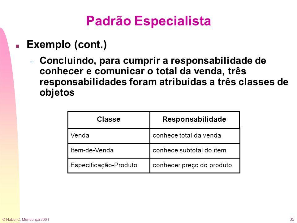 © Nabor C. Mendonça 2001 35 n Exemplo (cont.) – Concluindo, para cumprir a responsabilidade de conhecer e comunicar o total da venda, três responsabil