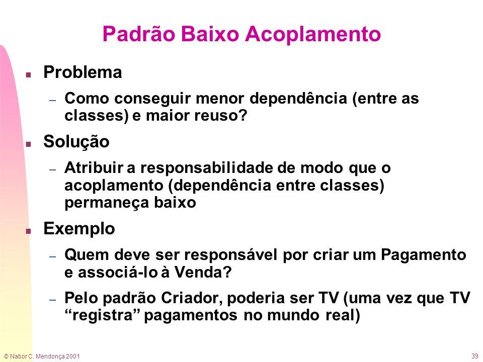 © Nabor C. Mendonça 2001 39 Padrão Baixo Acoplamento n Problema – Como conseguir menor dependência (entre as classes) e maior reuso? n Solução – Atrib