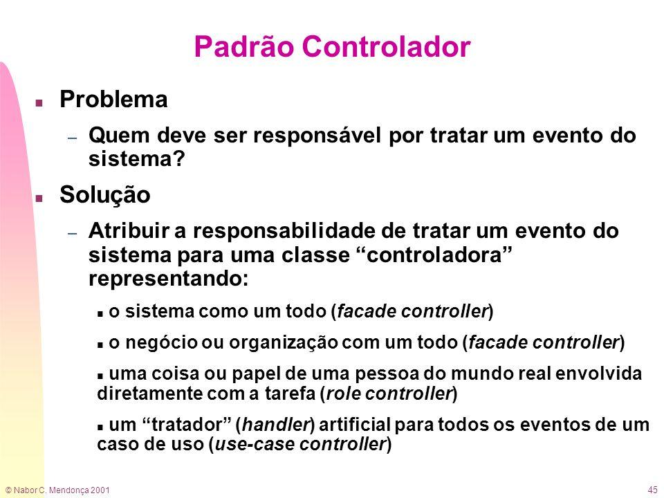© Nabor C. Mendonça 2001 45 Padrão Controlador n Problema – Quem deve ser responsável por tratar um evento do sistema? n Solução – Atribuir a responsa