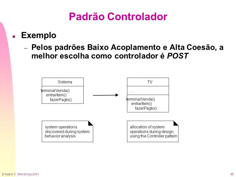 © Nabor C. Mendonça 2001 46 Padrão Controlador n Exemplo – Pelos padrões Baixo Acoplamento e Alta Coesão, a melhor escolha como controlador é POST TV.