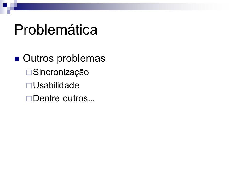 Problemática Outros problemas Sincronização Usabilidade Dentre outros...