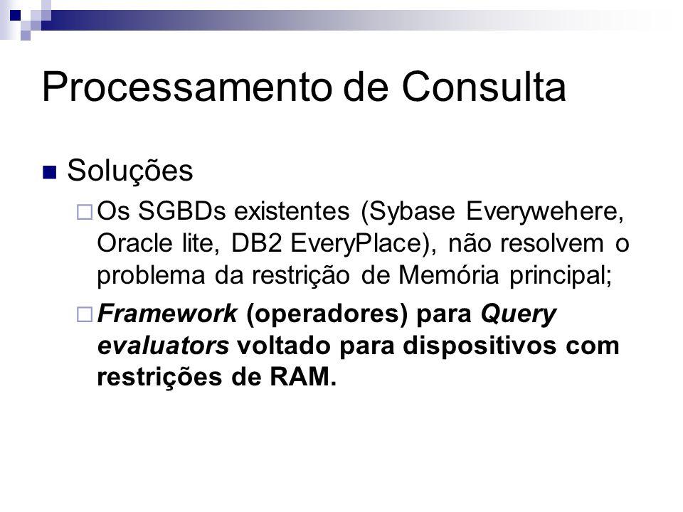 Processamento de Consulta Soluções Os SGBDs existentes (Sybase Everywehere, Oracle lite, DB2 EveryPlace), não resolvem o problema da restrição de Memó