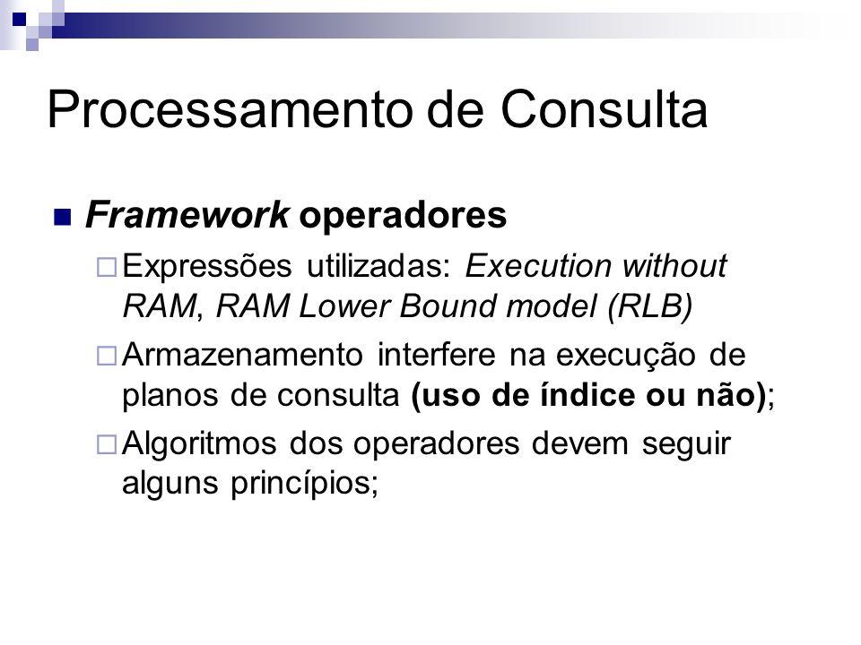 Processamento de Consulta Framework operadores Expressões utilizadas: Execution without RAM, RAM Lower Bound model (RLB) Armazenamento interfere na ex