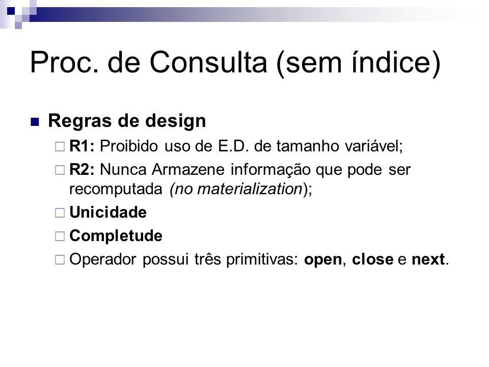 Proc. de Consulta (sem índice) Regras de design R1: Proibido uso de E.D. de tamanho variável; R2: Nunca Armazene informação que pode ser recomputada (