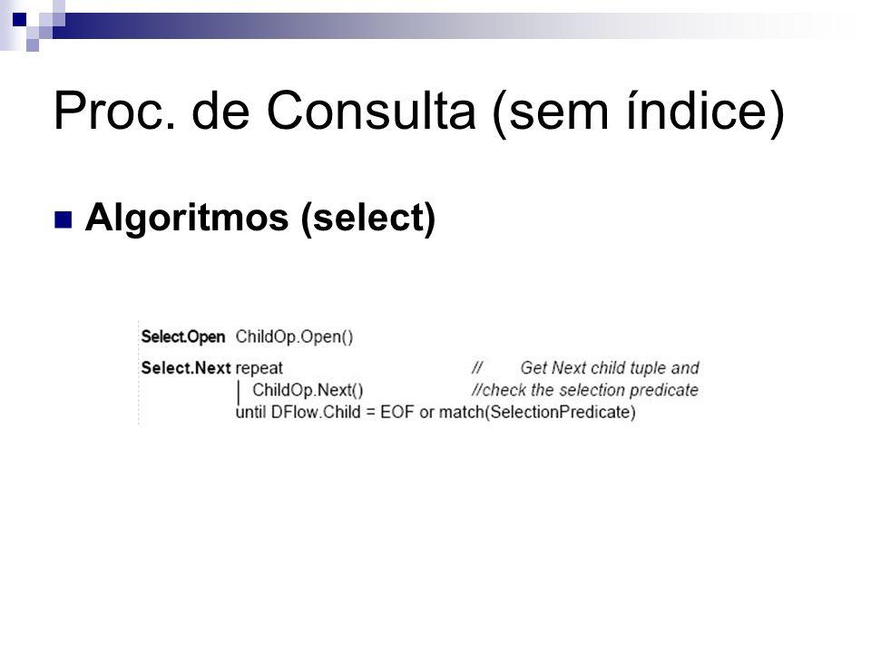 Proc. de Consulta (sem índice) Algoritmos (select)