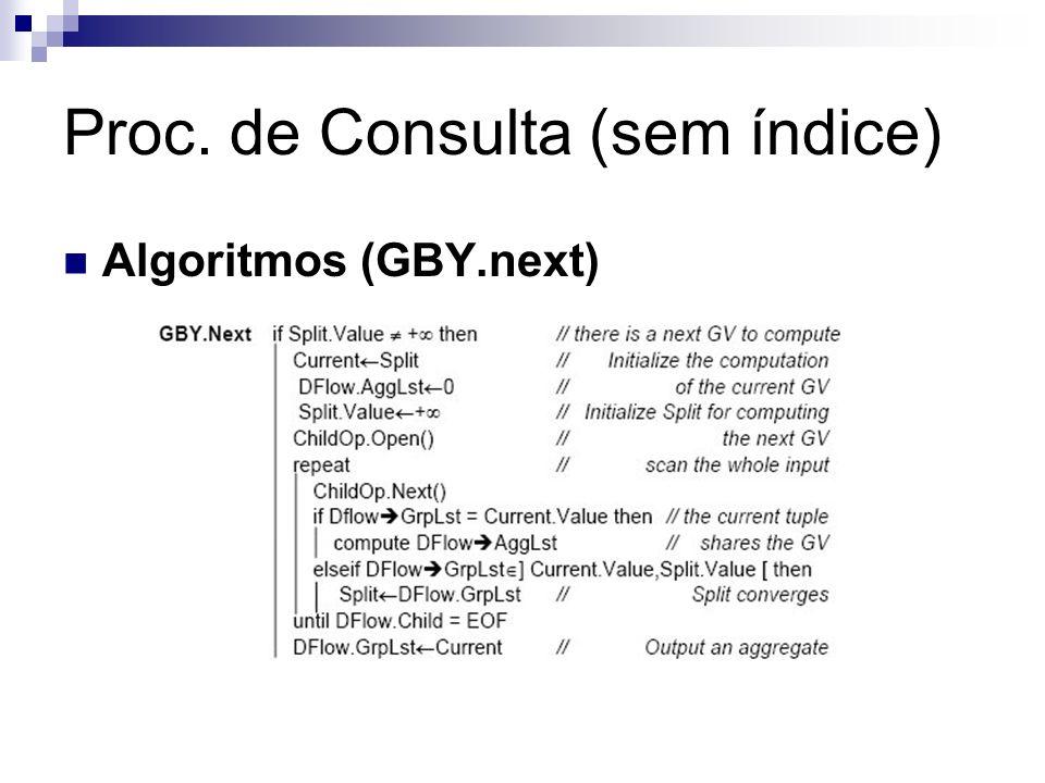Proc. de Consulta (sem índice) Algoritmos (GBY.next)