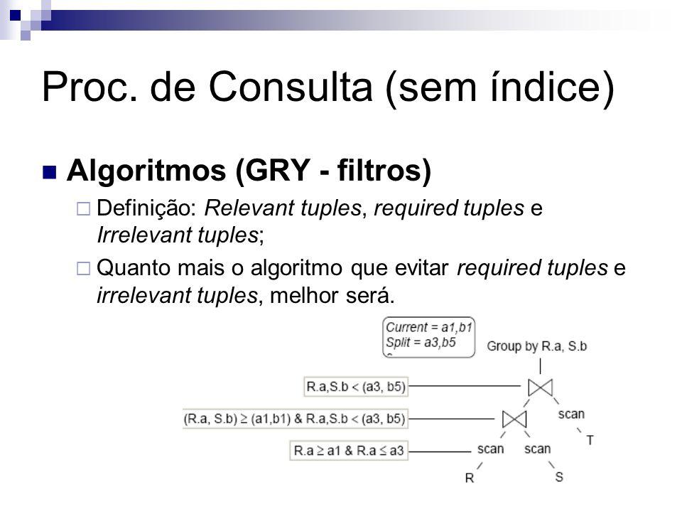 Proc. de Consulta (sem índice) Algoritmos (GRY - filtros) Definição: Relevant tuples, required tuples e Irrelevant tuples; Quanto mais o algoritmo que