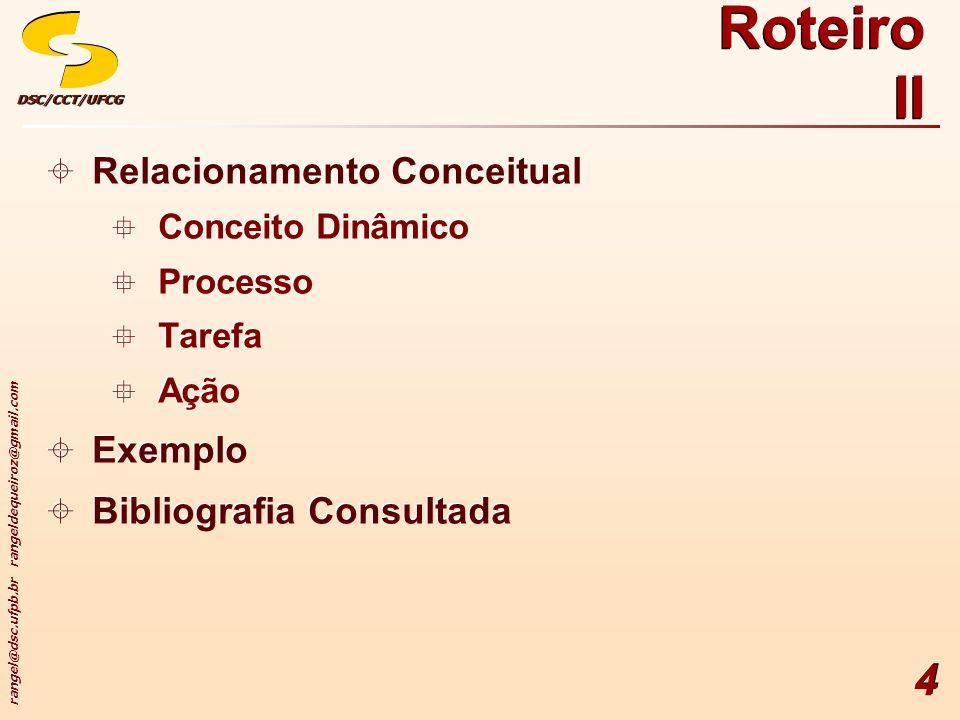 rangel@dsc.ufpb.br rangeldequeiroz@gmail.com DSC/CCT/UFCGDSC/CCT/UFCG 4 Roteiro II Relacionamento Conceitual Conceito Dinâmico Processo Tarefa Ação Ex