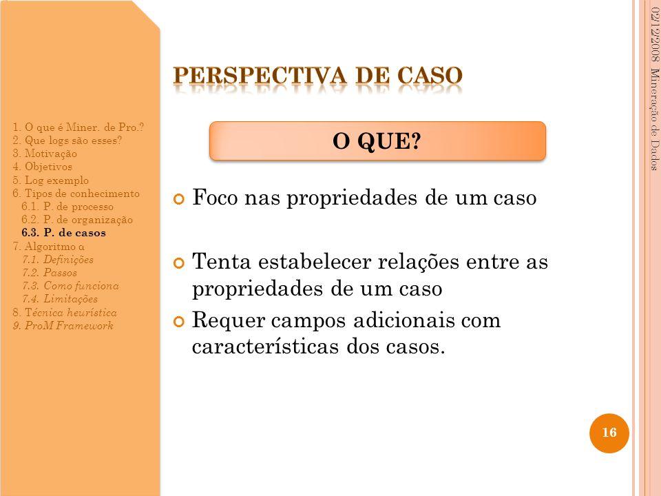 Foco nas propriedades de um caso Tenta estabelecer relações entre as propriedades de um caso Requer campos adicionais com características dos casos. 0