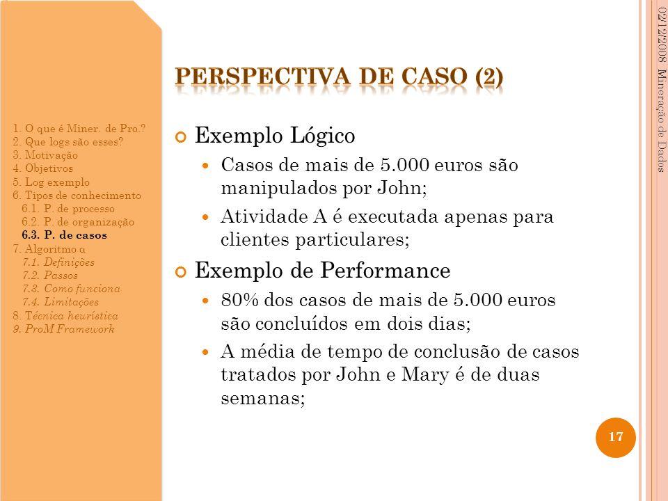 Exemplo Lógico Casos de mais de 5.000 euros são manipulados por John; Atividade A é executada apenas para clientes particulares; Exemplo de Performanc